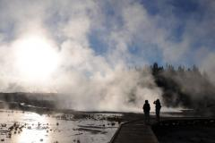 The steam covers the sky on a Yellowstone tour to Porcelain Basin.