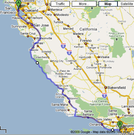 San Francisco To Los Angeles Map Jpg