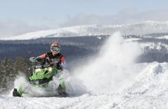 Winter snowmobiling in Yellowstone